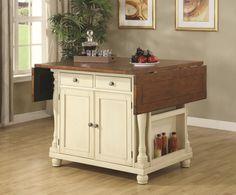 Furniture Ivory Polished Oak Wood Portable Kitchen Island Using Brown Butcher Block Top Having Expandable