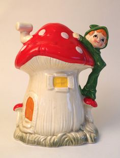 Vintage 1960s Elf Pixie Bank Ceramic Toadstool by retrowarehouse