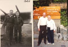 RCAF pilots and comrades Harry Hardy and Bill Clifford in 1945 and 1991.