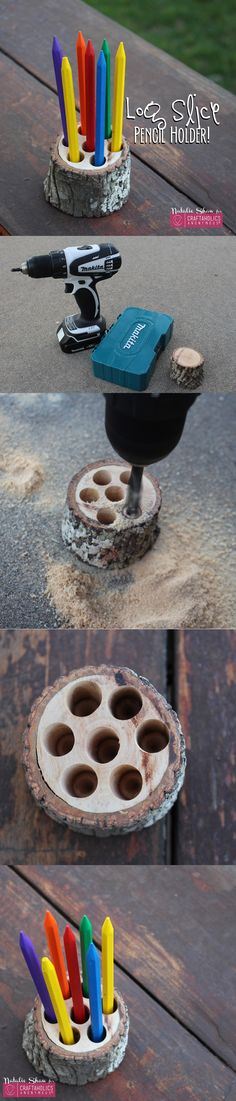 How to make a log slice pencil holder. Fun DIY project for the office.