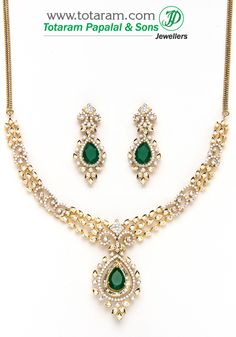18K Gold Diamond Necklace Earrings Set with Ruby Onyx