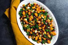 Kale Salad with Caramelized Butternut Squash Honey Balsamic Dressing