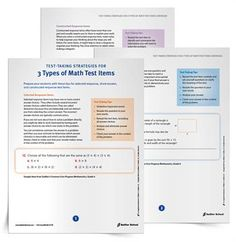 Handouts on math test question types!