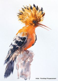 Hoopoe Bird Painting , Bird watercolor painting, Bird art, watercolor, Art print size 8X10 inch for room décor and special gift No.197 by OrientalArt2029 on Etsy