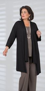 Plus size Q'neel black jersey jacket, long sleeve top and trouser