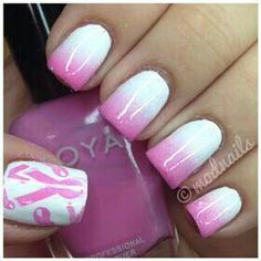 Pretty Breast Cancer Awareness Nails