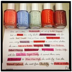 We recently called in some of our favorite Essie polishes for a shoot and got this adorable note. It tells a little story about founder Essie Weingarten in a quirky Mad Libs-style that uses their polish names to fill in the blanks. New party game, anyone?