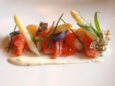 balik salmon with white asparagus, tarragon mayonnaise, and fava beans from Eleven Madison Park.