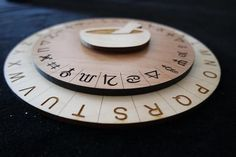 "The Alchemy Cipher is a perfect fit for Escape Room's with an magical or mythical based theme. It incorporates Symbols on the top wheel to encode your message. The Cipher measures 8"" in diameter and i"