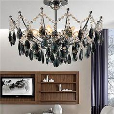 Noir élégant lustre en cristal avec 6 lampes