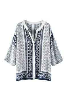 ROMWE Floral Print V-neck Cropped Sleeves Loose Cardigan