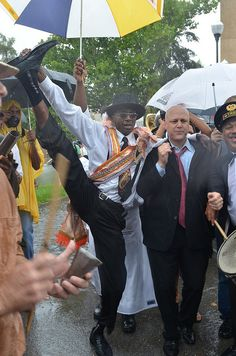 Mayor Mitch Landrieu at Uncle Lionel Batiste's Jazz Funeral Second Line on Friday, July 20, 2012.