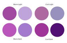 Purples. Warm Light is Spring. Cool Light is Summer. Cool Dark is Winter. Warm Dark is Autumn.