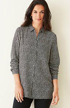 abstract-print rayon shirt