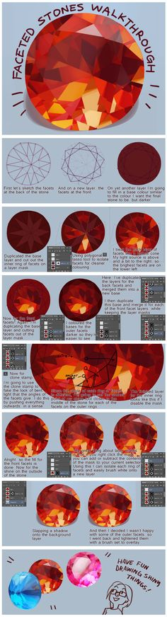 Shiny gems tutorial #art #drawing #painting #lesson