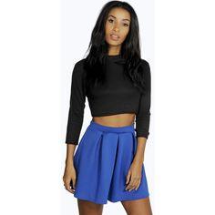 Boohoo Sophie Solid Colour Box Pleat Skater Skirt ($10) ❤ liked on Polyvore featuring skirts, cobalt, bohemian maxi skirt, black skirt, skater skirt, flared midi skirt and black skater skirt
