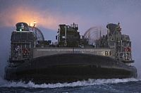 A landing craft, air cushion enters the well deck of the San Antonio-class amphibious transport dock ship USS New York (LPD 21). New York is homeported in Mayport, Fla., and is conducting naval operations in the U.S. 6th Fleet area of operations.  U.S. Navy photo by Mass Communication...