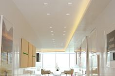 In-ceiling, square, recessed LEDs offer a clean and minimal look | LED lighting Ideas for commercial spaces | Aurora Square Edge 3.3 - by Pure Lighting