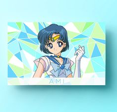 Sailor Mercury Poster, Ami Art Print, Sailor Moon Art, Anime Decor, Sailor Moon Gifts, Anime Gifts