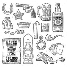 Set with Wild West and Casino Symbols