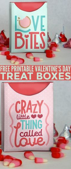 These Free Printable Valentine's Day Treat Boxes are perfect for easy valentines that spread lots of love. The finished printable boxes turn out to be about the size of a small crayon box and are the best for sharing candy!