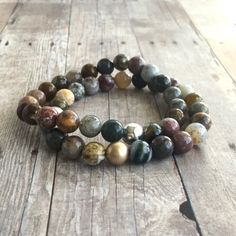 Ocean Jasper Bracelet / Multicolored Natural Stone Jewelry / Stretchy Gold or Sterling Silver Women's Men's Bracelet