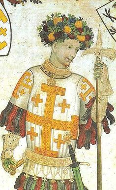 """Godfrey of Bouillon (my 27th g-gfather) (c. 1060 – 18 July 1100) was a medieval Frankish knight who was one of the leaders of the First Crusade from 1096 until his death. He was the Lord of Bouillon, from which he took his byname, from 1076 and the Duke of Lower Lorraine from 1087. After the successful siege of Jerusalem in 1099, Godfrey became the first ruler of the Kingdom of Jerusalem, although he refused the title """"King""""; as he believed that the true King of Jerusalem was Christ."""