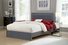 Amber Queen Headboard Only & Standard Frame in Pewter - Hillsdale Furniture Amber bed is both fashionable and comfortable.ᅠ An impressive square headboard is complimented by nail-head trim, both on the outer edge and the center. Platform Bed Sets, King Platform Bed, Upholstered Platform Bed, Upholstered Beds, Platform Bedroom, Cal King Bedding, Queen Bedding Sets, Hillsdale Furniture, California King Bedding