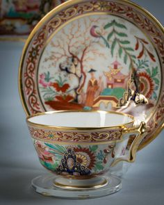 Antique English Flight Barr and Barr Porcelain Cup & Saucer, circa 1820 - Early 19th Century Teacup, gold gilt, Chinoise design