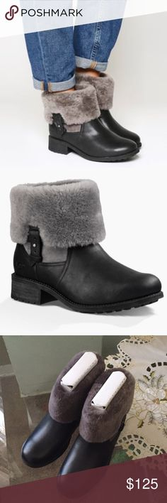 """🎁NEW UGG CHYLER. BLACK Model: 1012524 The kind of boot that sets trends without even trying, the Chyler combines luxurious Twinface with water-resistant leather to chic effect. For added versatility, its plush sheepskin collar can be uncuffed and worn tall. Details: Twinface and water-resistant leather UGGpure™ wool lining PORON® and UGGpure™ wool insole Rubber outsole 8"""" shaft height 1 ½"""" heel UGG Shoes Ankle Boots & Booties"""