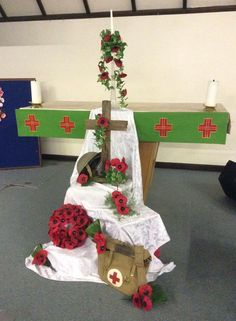 Display for Remembrance Sunday at St John's Church, Colchester, Essex, England, on 9.11.14.