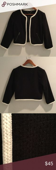 Black and white jacket Black and white jacket has Chanel look to it! I bought it in a boutique in NYC.  Fully lined. Size 4 tag fell off.  Great condition!!! small boutique Jackets & Coats Blazers