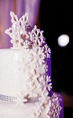 Sprinkled with both ice and snow, this wedding cake embodies all the beauty of a cold winter's night- minus the freezing temperatures