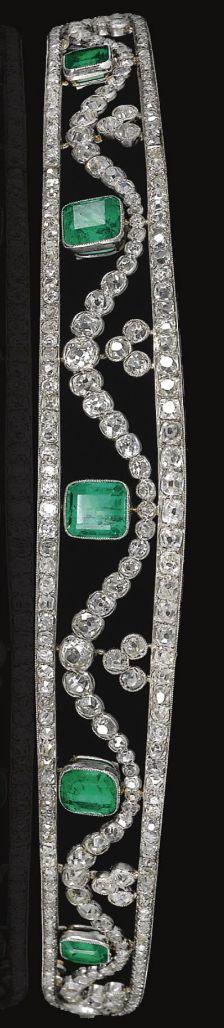 emerald and diamond tiara, Chaumet, circa 1910