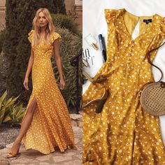 Mustard Yellow Floral Print Backless Maxi Slit Summer Dress by Lulus - Kleider - Summer Dress Outfits Fancy Maxi Dress, Polka Dot Maxi Dresses, Backless Maxi Dresses, Boho Dress, Long Dresses, Yellow Maxi Dress Outfit, Floral Print Dresses, Casual Maxi Dresses, Yellow Dress Casual