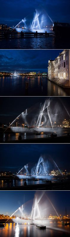 Romania-based architecture collective visualSKIN arrived at the Amsterdam Light Festival with a splash this year, installing a three-dimensional projection of a 17-century ship against a backdrop of water. Titled 'Ghost Ship,' the installation makes use of two intersecting images projected onto perpendicular curtains of water that can be viewed from multiple angles.