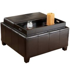 Amazon.com: BEST Mansfield Leather Espresso Tray Top Storage Ottoman: Home & Kitchen $224.99
