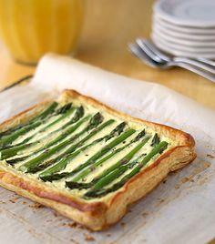 spring brunch recipe. love puff pastry and asparagus. I might add some parmesan cheese to it.