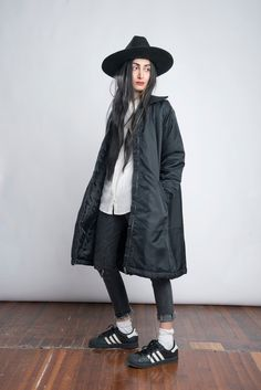"""4 New York Bloggers, 1 Full Month Of Outfit Inspiration #refinery29  http://www.refinery29.com/march-2015-outfit-ideas#slide-13  Saturday""""The most typical attire in life: a white shirt, a hat, and a roomy coat.""""What She's Wearing: Equipment shirt, H&M jeans, Monki coat, Adidas sneakers, and a vintage hat."""