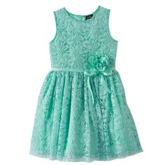 Girls 7-16 & Plus Size Lilt Flower Accent Lace Overlay Dress, Girl's, Size: 10, Lt Green