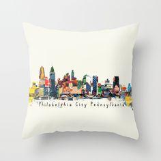 Philadelphia skyline comic Throw Pillow