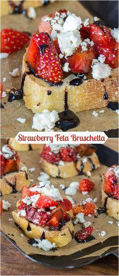 Strawberry Feta Bruschetta is a quick and easy appetizer recipe combining the great flavours of strawberry, feta cheese and a balsamic reduction.