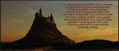 Macbeth (Act 5, Scene 5, lines 17-28) Image a still from Roman Polanski's film version of the play