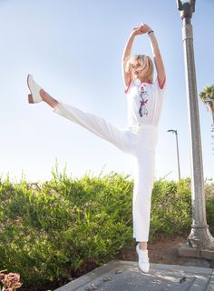 In Bared with Jessica Morrow rocking our white 'Roster' monk flats in LA