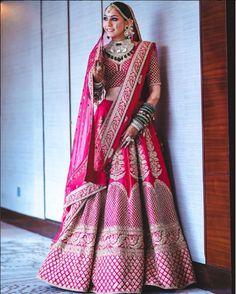 Pink and Red bridal lehenga by Sabyasachi #Frugal2Fab