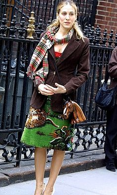 brown jacket - green skirt --- Sarah Jessica Parker - SATC - Carrie Bradshaw - set - sex and the city