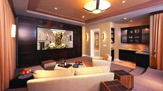 Home Theater Design Layouts | Home Theater Room Design Inspirations: Modern Bright Home Theater ...