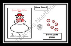 Snowman Addition Center Game product from Can-You-Read-It on TeachersNotebook.com