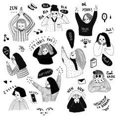 drawing people Oh les filles ! Art And Illustration, People Illustration, Illustrations And Posters, Character Illustration, Art Sketches, Art Drawings, Posca Art, Creation Art, Doodles