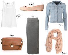 Grey maxi skirt | White shirt | Denim jacket | Brown bag | Ballerina's | Cute Spring/Summer outfit